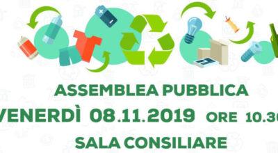 Interventi di potenziamento della raccolta differenziata: Assemblea pubblica – Venerdì 08.11.2019 ore 10.30 – Sala Consiliare