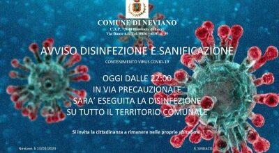 Avviso disinfezione e Sanificazione: 13/03/2020 ore 22.00