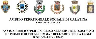 Avviso pubblico per l'accesso alle misure di sostegno economico di cui al comma 3 dell'Art.5  della Legge Regionale n.45/2013
