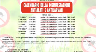 Calendario interventi di disinfestazione Antilarvale e Antialare Comune di Neviano